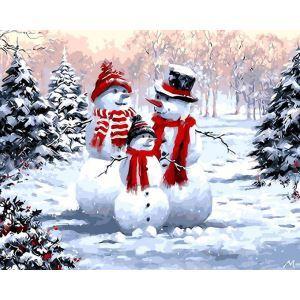 (EU Lager)Malen nach Zahlen Weihnachten Schneemann Familien DIY Handgemaltes Digital Ölgemälde 40*50 cm