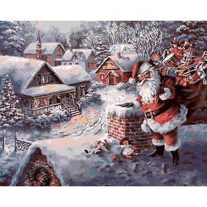 (EU Lager)Malen nach Zahlen Weihnachtsdeko Weihnachtsmann DIY Handgemaltes Digital Ölgemälde 40*50 cm