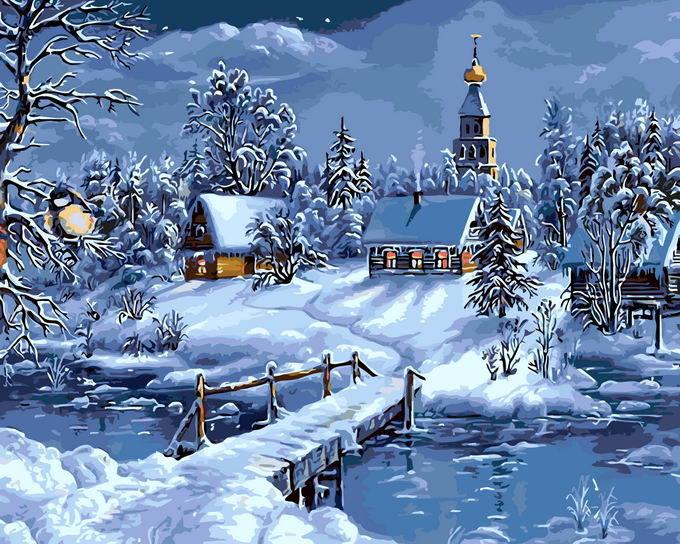 Malen Nach Zahlen Weihnachten Winter Haus Diy Handgemaltes Digital