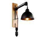Wandleuchte Rustikal Seilrolle Design aus Eisen Schwarz 1-Flammig