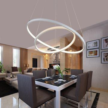 EU Lager) Moderne Hängeleuchte Led Ring Design aus Acryl 60cm+40cm