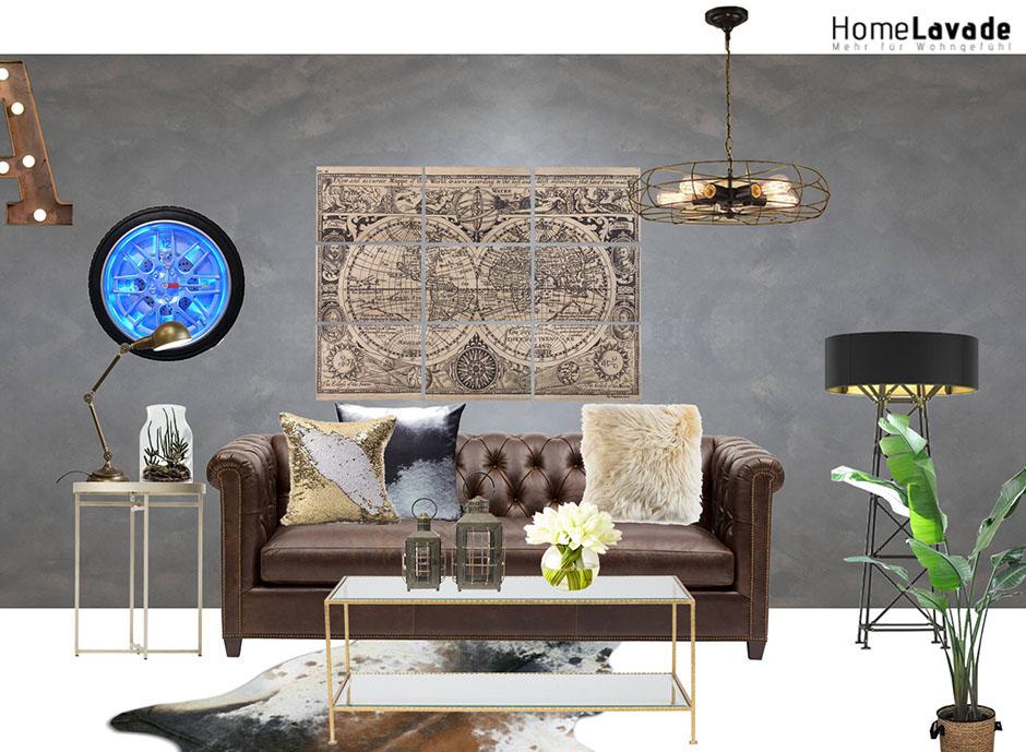 Luxus-Industrie-Wohnzimmer