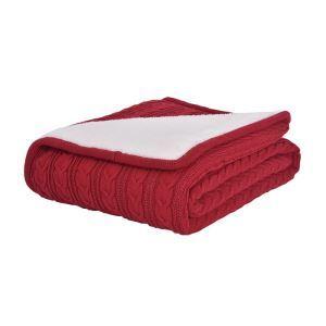 (EU Lager)Moderne Sofadecke Strickdecke Rot 120*180cm