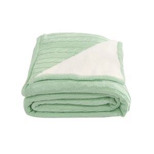 (EU Lager)Dicke Wohndecke Strickdecke Modern aus Baumwolle Pfefferminzgrün 120*180cm