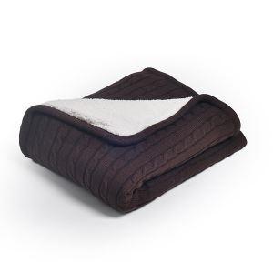 (EU Lager)Dicke Wohndecke Strickdecke Modern aus Baumwolle Kaffee 150*200cm
