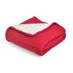 (EU Lager)Moderne Sofadecke Strickdecke Dick aus Baumwolle Rot 150*200cm