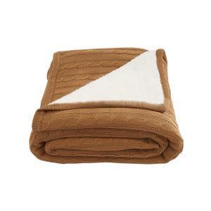 (EU Lager)Dicke Wohndecke Strickdecke Modern aus Baumwolle Hellbraun 150*200cm