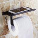 Toilettenpapierhalter mit Handy Ablage aus Messing Schwarz