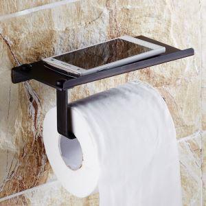 (EU Lager)Toilettenpapierhalter mit Handy Ablage aus Messing Schwarz