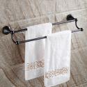 Handtuchstange Doppelt Handtuchhalter Bad aus Messing Schwarz