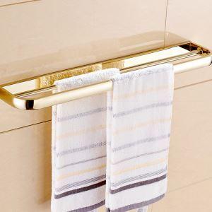 (EU Lager)Handtuchstange Zweiarmig Handtuchhalter aus Messing Gold