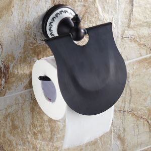 (EU Lager)WC Papierhalter mit Deckel Bad Schwarz