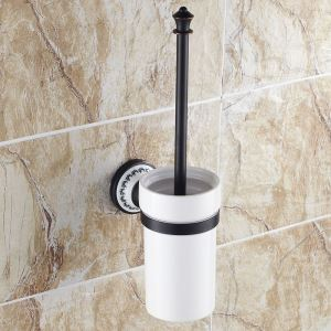 (EU Lager)WC Bürstenhalter aus Keramik Messing Schwarz