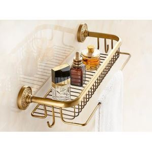 (EU Lager)Handtuchhalter Antik Messing Duschkorb Wand Badezimmer