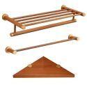 3 tlg. Badaccessoires Set Badetuchhalter Handtuchstange Eckablage aus Holz