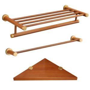 (EU Lager)3 tlg. Badaccessoires Set Badetuchhalter Handtuchstange Eckablage aus Holz
