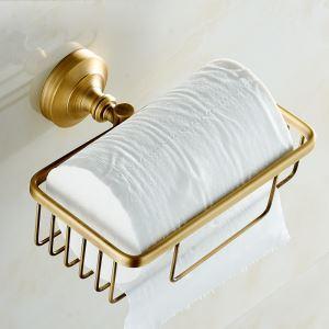 (EU Lager)WC Papierhalter Eckig Antik Messing Wandmontage