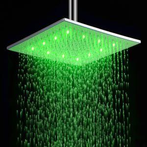 (EU Lager) 12 Zoll Messing-Duschkopf mit Farbwechsel LED Licht