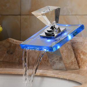(EU Lager)LED Waschtischarmatur Bad Wasserfall (Glas-Griff)