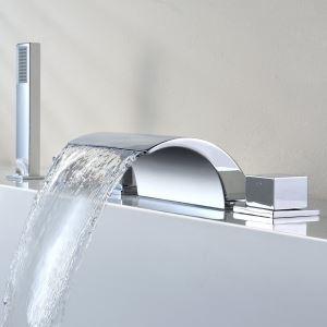 (EU Lager)Wannenrandarmatur Chrom Wasserfall Wasserhahn mit Handbrause (Chrom)