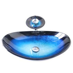 (EU Lager)Modern Waschbecken Set Glas Oval Blau Schwarz mit Wasserhahn