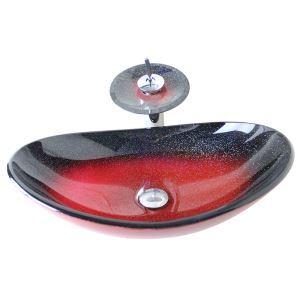 (EU Lager)Modern Waschbecken Glas Oval mit Wasserhahn Rot
