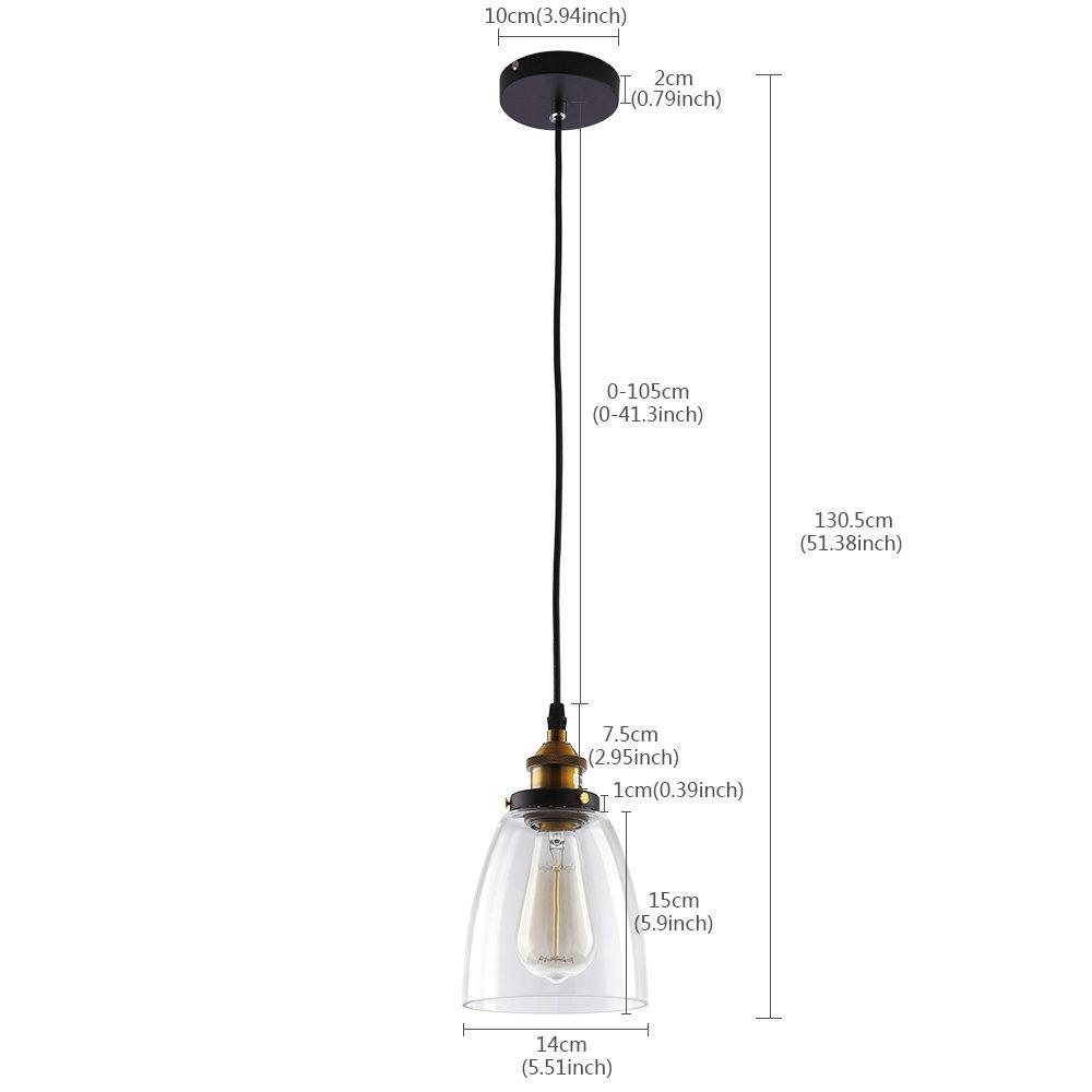 (EU Lager)Glas Hängeleuchte Industriell Glocke Design 1-Flammig