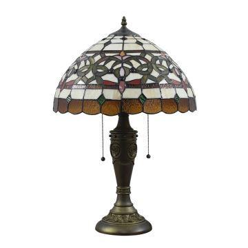 Klasische Tischleuchte Tiffany Glas Schirm im Schlafzimmer