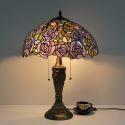 Retro Tischleuchte Lila Rose Design Glas Schirm