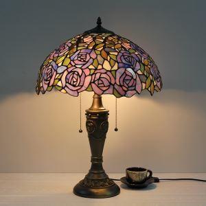 Tiffany Tischleuchte Lila Rose Design Glas Schirm