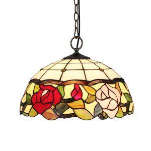 Tiffany Pendelleuchte Floral Design Glas Schirm im Esszimmer