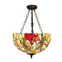 Retro Hängeleuchte Libellen mit Floral Design Glas Schirm im Schlafzimmer
