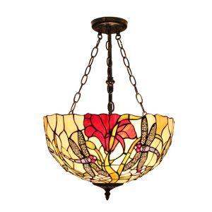 Tiffany Hängeleuchte Libellen mit Floral Design Glas Schirm im Schlafzimmer