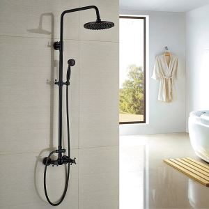 (EU Lager)Duschsystem Wandmontage mit Handbrause Schwarz