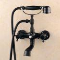 Badewannenarmatur Wandmontage mit Handbrause Schwarz