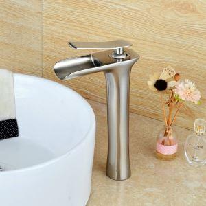 (EU Lager)Elegante Waschtischarmatur Wasserfall Modern Nickel Gebürstet