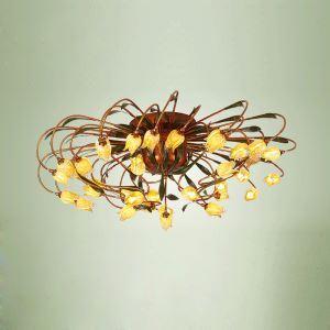 Effektvolle Led Deckenleuchte Glas Tulpen Design 38-flammig