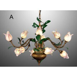 Blumige Hängeleuchte Led Glas Tulpen Design 12-flammig