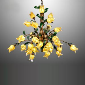 Inspirierende Hängelleuchte Led Glas Tulpen Design aus Eisen 27-flammig