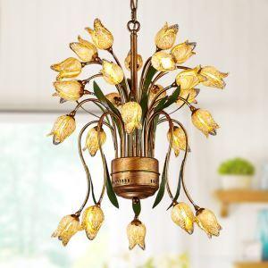 Prachtvolle Pendelleuchte Led im Florentiner Stil Glas Tulpen Design 25-flammig
