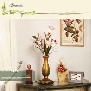 Florentiner Tischleuchte Led Glas Lilien Blumenvase Design 5-flammig