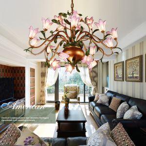 (EU Lager)Romantische Hängeleuchte Led im Florentiner Stil Glas Lilien Design 20-flammig