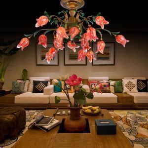 Anmutige Pendelleuchte Led Florentiner Glas Tulpfen Design 18-flammig