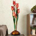 Led Tischlampe Florentiner Glas Tulpen Design Rot 6-flammit