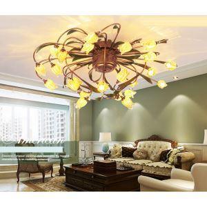 Dekorative Deckenleuchte Led im Florentiner Stil Glas Tulpen Design 24-flammig