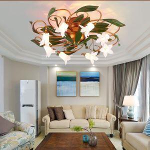 Florentiner Deckenleuchte Led Glas Lilien/Seerosen Design 8-flammig