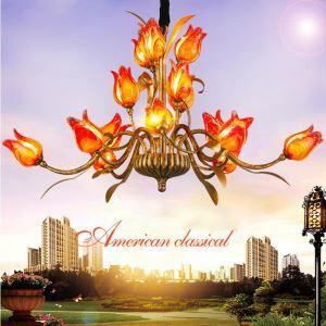 Bezaubernde Hängeleuchte Led Florentiner Glas Tulpen Design 15-flammig