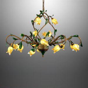 Kunstvolle Pendelleuchte Led im Florentiner Stil Glas Tulpen Design 21-flammig