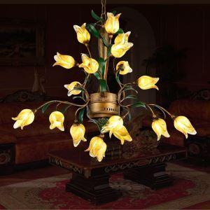 Rustikale Pendelleuchte Led Florentiner Stil Glas Tulpen Design 18-flammig