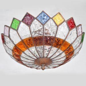 (EU Lager)Zauberhafte Deckenleuchte Buntes Glas Eisen 3-flammig im Wohnzimmer